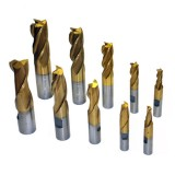 10 PCS END MILL SET, TIN COATED WITH HSS MATERIAL - END MILLS